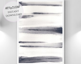 FUZZY, instant download, large printable art, watercolor, 24x36 in, din A1, gradient, black, white, grey, jpg, lines, gradients, abstract,