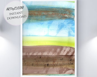 REBEL, instant download, large printable art, watercolor, 24x36 in, Din A1, gradient, brown, blue, green, yellow, din A, jpg, nature, landscape,