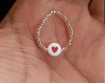 Heart bead, beaded ring