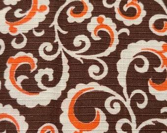 Vintage fabric, circa 60, brown, orange, white