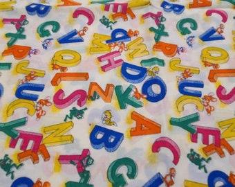Childish fabric, animals, alphabet, vintage, circa 70