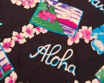 Cotton fabric, retro style, hawaii, hibiscus, kitsch