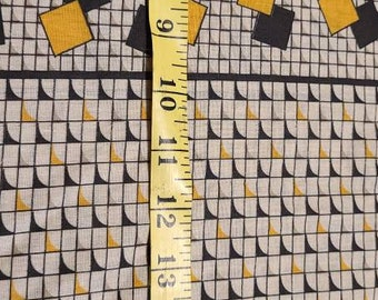 Vintage fabric, beige, gray, ocher, black, retro, year 80