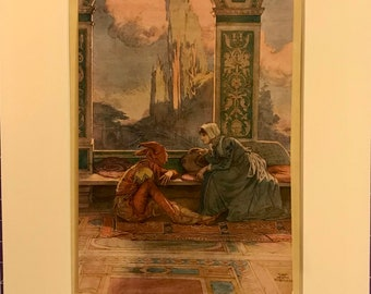 and went home with Dictys Thomas Heath Robinson 1927 Lithograph Fisherman So Danae was comforted