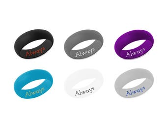 Custom Silicone Ring Personalized Wedding Band Silicone Rubber Band Birthday Anniversary Christmas Gift Always And Forever Ring