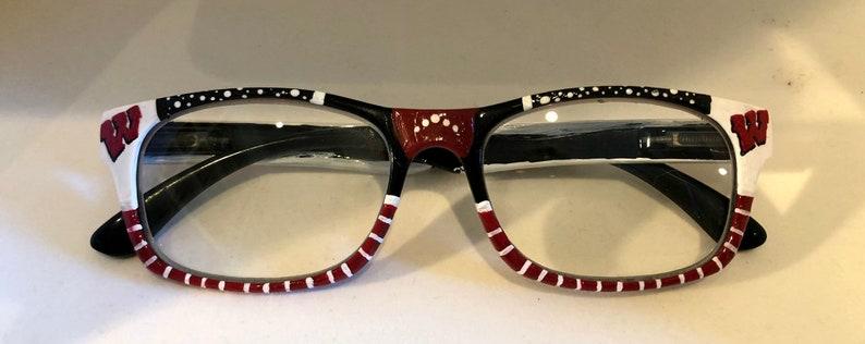Wisconsin Badgers Reading Glasses, custom cheater glasses, Badgers accessories, college football eyeglasses, Wisconsin eyewear, Badger gift