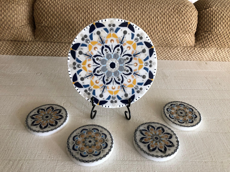 Painted Trivet Gift For Mom Mandala Trivet Kitchen Wall Decor