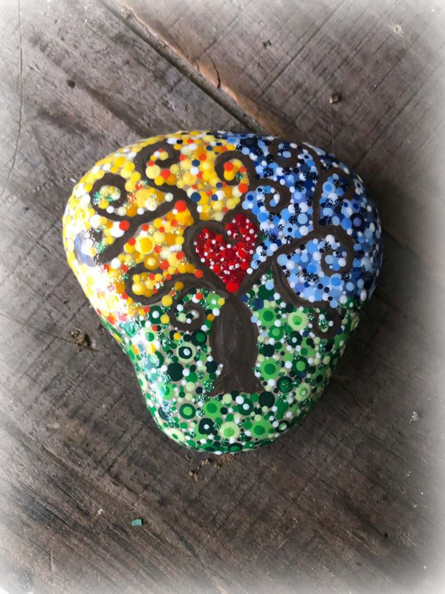 Tree Of Life Stone Painted Stones Tree Of Life Art Mindfulness Dot Art