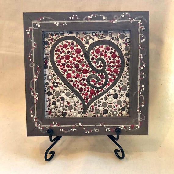 Heart Art Painting Small Canvas Art Dot Art Painting Girlfriend Gift Anniversary Gift For Wife Gift Ideas Love Artwork Long Distance
