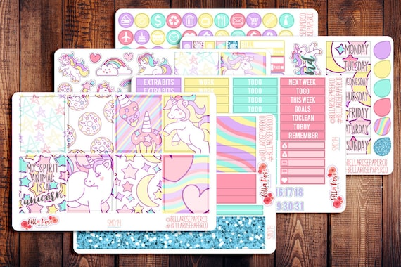Unicorn Stickers Planner Stickers AS73 Erin Condren Character Stickers
