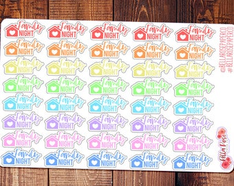 Family Night Lettered Planner Stickers, for use in Erin Condren Planners, Stickers, Happy Planner Stickers, Erin Condren DI003