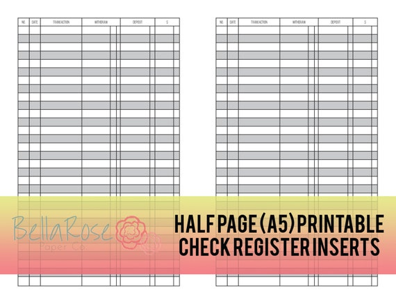 a5 half page printable check register inserts budgeting etsy
