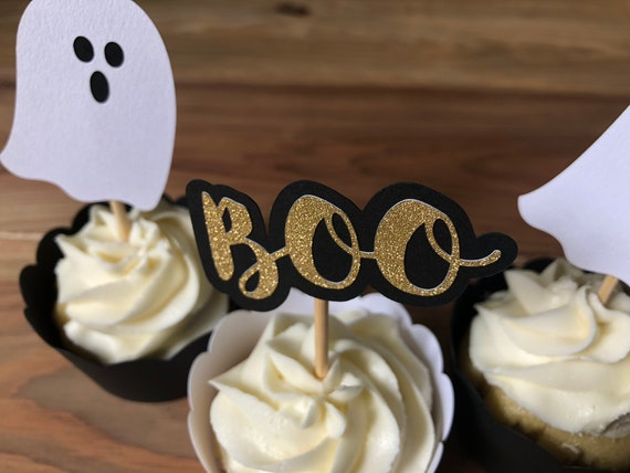 Halloween Cupcake Toppers Halloween Party Decor Ghost Etsy