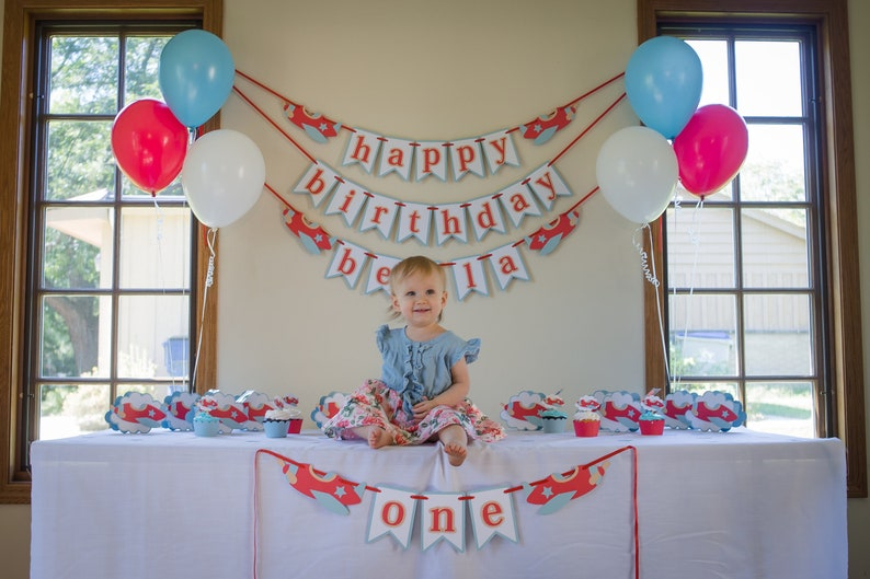 Airplane Party Package Boy Birthday Party In A Box Airplane Decorations Happy Birthday Name Banner First Birthday Party Kit