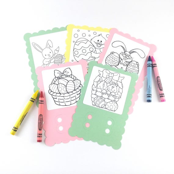 Easter Coloring Cards - Sunday School Activities - East Basket Gift Ideas -  Easter Activities for Kids - Easter Bunny Coloring Gifts
