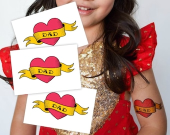"""Set of 3 temporary tattoos """"Love dad"""". Classic tattoo design: heart with ribbon. Fathers day gift. Fun for daddy's girl and boys. TT270"""