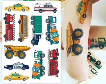 """Temporary tattoo set """"Traffic"""" with car, taxi, emergency ambulance, fire engine, school bus, truck, cement-mixer, police car tatts."""