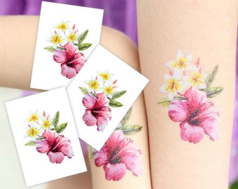 Set of 3 temporary tattoos Watercolor tropic flowers. Beach party favors, Aloha party supply. Hawaii hibiscus tattoo. Tropical florals