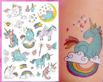 Temporary tattoos Unicorns. Set of 9 magic unicorns + rainbow and more tiny tattoos. Unicorns party favors. Unicorn tattoo greeting card.