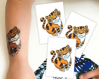 Set of 3 Tiger temporary tattoos. Asian tiger kids tattoos. Jungle kids birthday favors, animal and tiger party supply.
