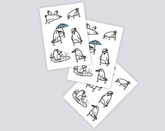 Set of 3 temporary tattoos Pigeons (total 18 pigeons). Funny kids tattoos in doodle style. City birds crows with ubrella, hat, puddle. TT247