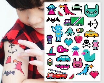 Temporary tattoos 8 bit. Retro video game pixel art kids tattoos. Video game party favors, 8 bit pixel art party favors and gifts. TA023