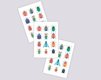 Set of 3 temporary tattoos Bugs. 36 tiny beetles tattoos. Vibrant kids tattoos for insects lovers. Bugs and beetles party favors and gifts.