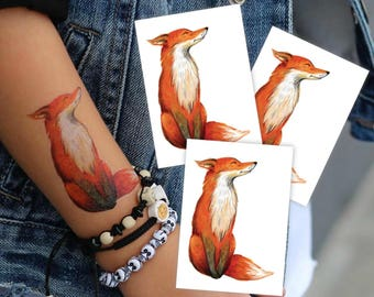 "Set of 3 temporary tattoos ""Red fox"". Vintage watercolor hand drawn walfdorf style woodland fox tattoo. Woodland and fox party favors. TT069"