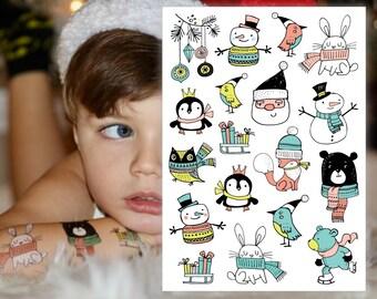 Temporary tattoos set Christamas doodles. Santa Claus, penguin, owl and more Xmas tattoos. Kids stocking stuffers and Christmas favors.
