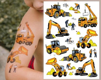Temporary tattoo set Construction vehicles with crane, builder, excavator, bulldozer kids tattoos. Under Construction party favors