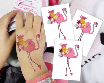 Set of 3 temporary tattoos Pink flamingo bloom. Kids tattoos with tropic bird, flowers and fruits. Tropical and flamingo party favors.
