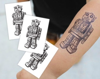 """Set of 3 temporary tattoos """"Robot"""". Retro vintage monochrome robot kids tattoos. Kids robot party favors and gift for boys. TT077"""