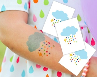 "Set of 3 temporary tattoos ""Rainbow cloud"". Rainy cloud with lightning kids tattoo. Rainbow party favors and goodie bag fillers. TT061"