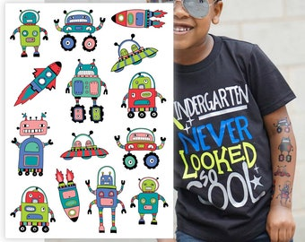 """Temporary tattoos """"Space adventure"""". Kids tattoos with UFO, rocket, robot, spaceship. Robot and space party favors and goodie bags fillers"""