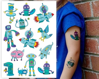 "Temporary tattoos ""Trendy robots"". Kids tattoos robot, rocket, spaceman. Robots birthday party favors and goodie bag supply. TA033"