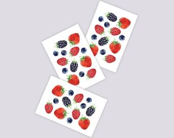 Set of 3 temporary tattoos Berries. Juicy tattoos with fresh blackberries, strawberries, blueberries and raspberries. Berry party favors.