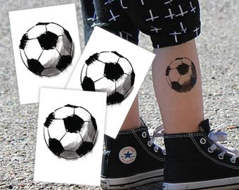 "Set of 3 temporary tattoos ""Scetchy football"". Black and white soccer ball tattoos. Gift for School soccer team players TT064"
