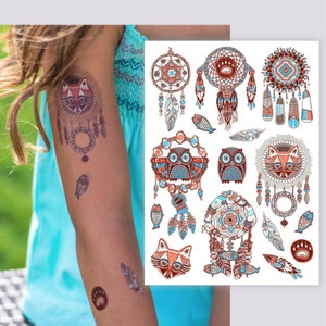 bohemian look accessories. Doodle arrows temporary tattoos Boho party favors Set of 3 tattoos with 15 bohemian arrows tattoos in total