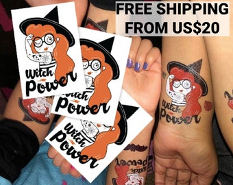 Halloween Witch power set of 3 temporary tattoo transfers. Body stickers. Halloween girl costume accessories. Funny gift for girlfriend.