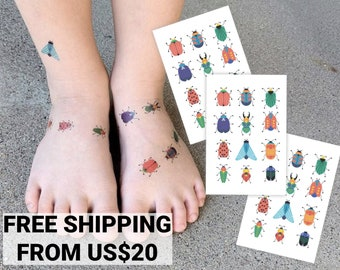 Bugs temporary tattoos. Set of 36 tiny beetles tattoos. Vibrant kids tattoos for insects lovers. Bugs birthday party favors.