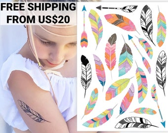 Feathers and Arrows temporary tattoo transfers. Bohemian party favors and boho supplies: pink watercolor, black-and-white body stickers.