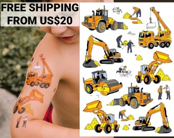 Construction party temporary tattoo transfers. Crane, builder, excavator, bulldozer vehicles kids body stickers. Birthday party favors!