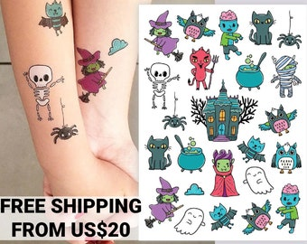 Halloween temporary tattoo transfers. No candy trick-or-treat favors. Spooky kids body stickers of dracula, witch, zombie, devil, owl, ghost