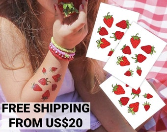 Strawberries set of temporary tattoo transfers. 21 yummy strawberry body stickers. Fruit and berry kid-friendly birthday party favors.
