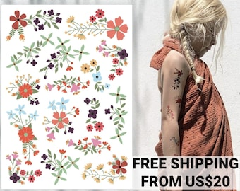 Flower temporary tattoo transfers. 13 bouquets. Romantic wedding kids table supply. Girls birthday party favors, gifts. Floral body stickers
