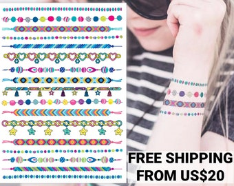 """Temporary tattoo transfers """"Arm candy"""". Chain with charms, hippie friendship tattoo bracelets body stickers. Girls party favors, gifts."""