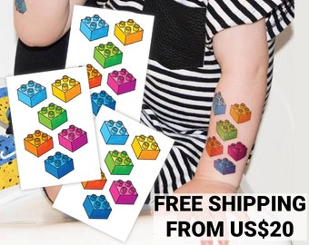 Temporary tattoo transfers of Building blocks. Set of 3 body stickers of 6 bricks each. Lego party favors, toddlers, kids birthday supplies.