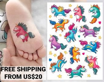 Rainbow unicorns party temporary tattoo transfers. Big set of little pony unicorns kid's body stickers. Unicorn party favors. Gift for kids