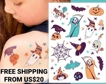 Halloween temporary tattoo transfers. Ghost, witch, bat, spider web and more body stickers. School Halloween gifts for kids. Trick-or-treat