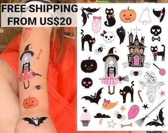 Girly Pink Halloween creepy cute temporary tattoo transfers. Good witch, black cats, vampire bats, skulls, pumpkins and ghosts body stickers